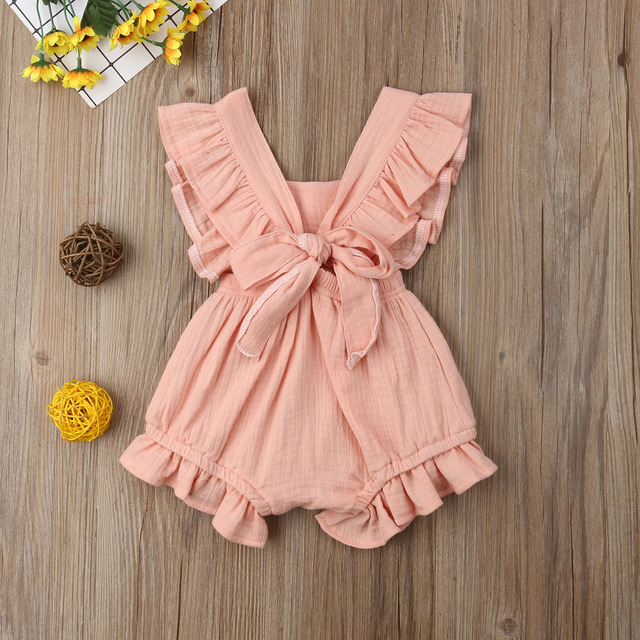 Citgeett sUMMER Newborn Baby Girls Ruffle Solid Color Bodysuit Jumpsuit Outfits Summer Casual Clothing Sunsuit 6