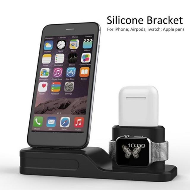 Upgraded 4-in-1 Silicone Charging Dock Holder Dock Station for iPhoneX/8/7/6 Iwatch Airpods Apple pen Wireless Bluetooth Headset