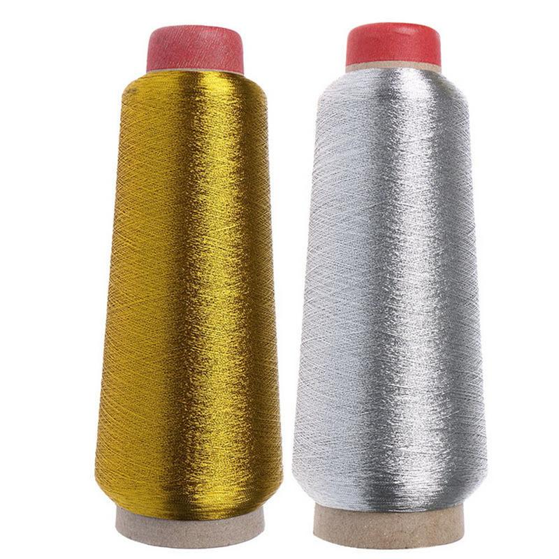 150d Sewing Machine Cone Threads High Quality Polyester Overlocking All Purpose Golden Silver Color Sewing Thread