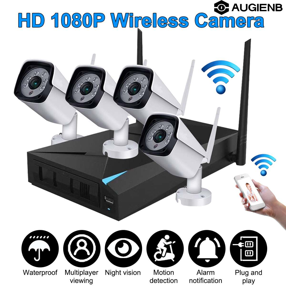 1080P Wireless Security Camera System 4CH NVR WiFi IP Cameras CCTV Video Surveillance System Kit Plug