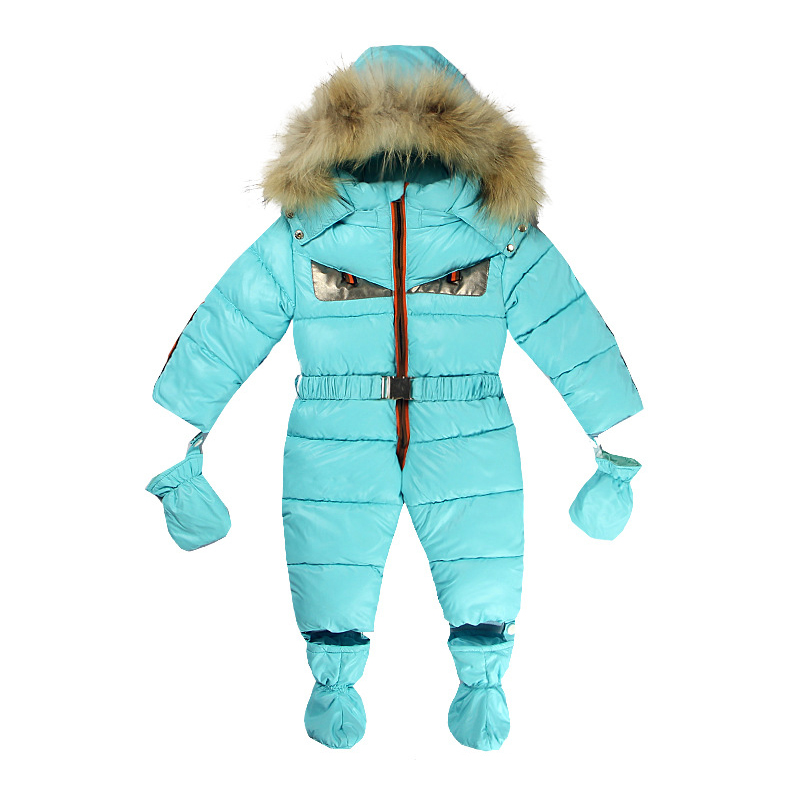 New Winter Baby Rompers Clothes Children Jumpsuit Feather Cotton Newborn Overalls Infants Boys Girls Jumpsuit Outerwear