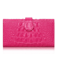 Fashion Women Wallet Crocodile Pattern Leather Tri Fold Large Capacity Clutch Bag Leather Ladies Wallet