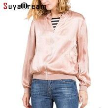Women Silk Jacket 19mm 100% REAL SILK SATIN Casual Zipper Jackets 2017 FALL New Outwear Pink
