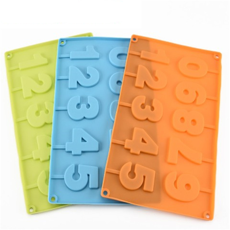 Alphabet Number 0-9 3D Silicone Mold with Lolli Hole Fondant Cake Decor H