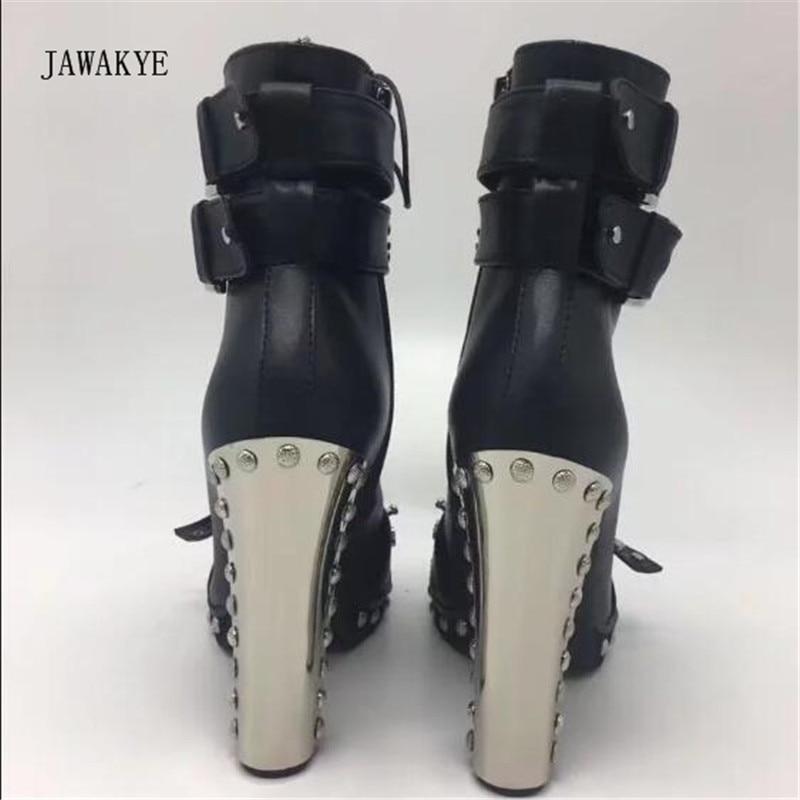 Botas Las Tobillo Moda Negro Zapatos Martin Punta Remache Cuero Del Redonda Black Mujeres Estrecha De Tacón Metal Punk Hebilla Mujer Alto wqTaEWant