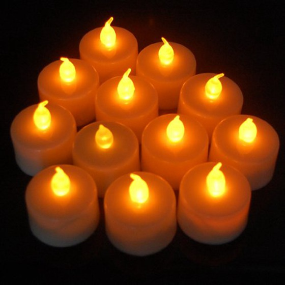 12 Pcs/lot Electric Candles LED Flickering Tea Lights Battery Powered Operated Candles For Wedding Party Decoration Birthday