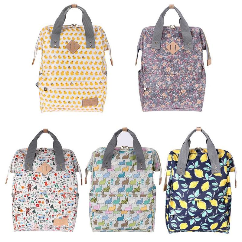 Cute Print Mummy Bags Multifunctional Doodle Print Handbag Travel Waterproof Large Capacity Mummy Baby Diaper Bag Baby Care Prop