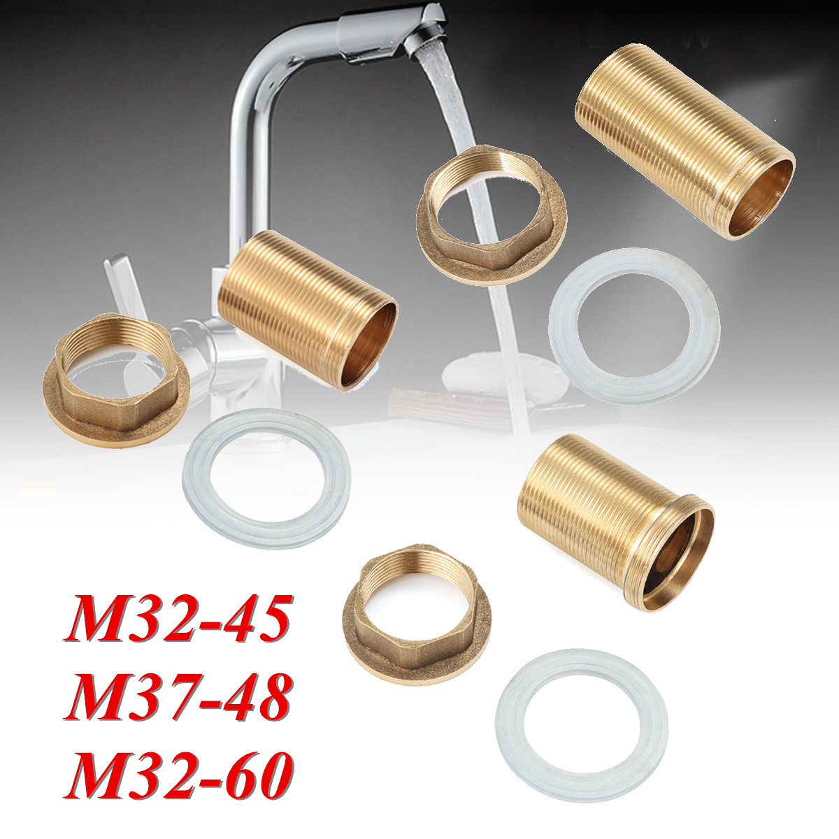 Copper Home Kitchen Basin Mixer Tap Repair Fitting Kit Faucet Threaded Brass Tube Nut Washer Parts Kitchen Faucet Accessories