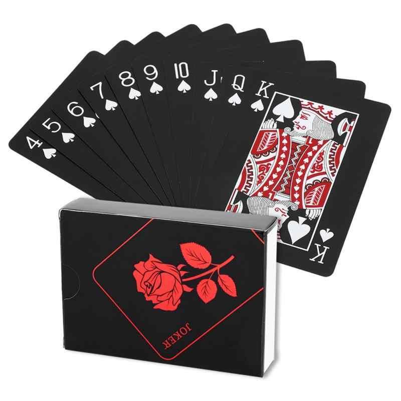 Jeu de cartes à jouer imperméables en plastique Rose plaqué noir cartes de Poker Deck tours de magie outil carte à jouer boîte-emballé