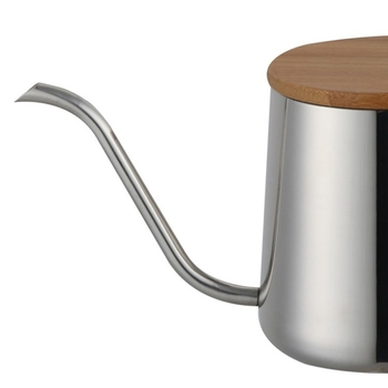 350Ml Long Narrow Spout Coffee Pot Gooseneck Kettle Stainless Steel Hand Drip Kettle Pour Over Coffee And Tea Pot With Wooden 4