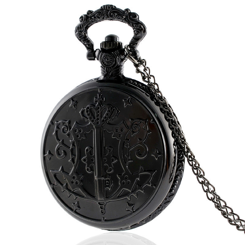 IBEINA Antique Black Butler Pocket Watch Vintage Quartz Pendant Necklace Retro Chain