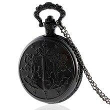 IBEINA reloj de bolsillo antiguo Black Butler, COLLAR COLGANTE de cuarzo Vintage, cadena Retro