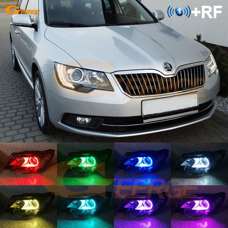 For SKODA SUPERB 2 II FACELIFT 2013 2014 2015 headlight RF Bluetooth Controller Multi Color Ultra bright RGB LED Angel Eyes kit