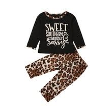 e15ddec49 2 pcs Ensemble Léopard De Mode Enfant Bébé Filles Vêtements À Manches  Longues T-shirt Tops Pantalon Casual Coton Bébé Fille Tenu.