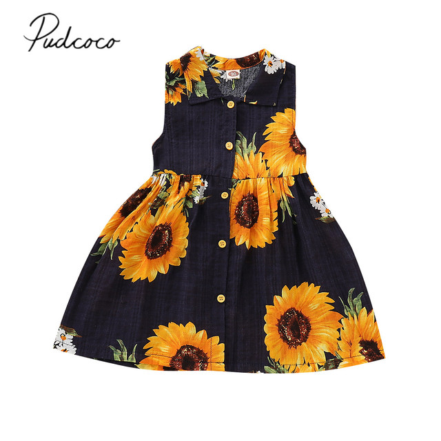 5943624bcc12 2019 Brand New 1-6Y Toddler Kids Baby Girls Sunflowers Dress Print Cotton  Holiday A-Line Blouse Sundress Summer Boho Clothes