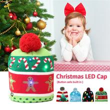 Winter Adult Kids Christmas LED Light Knitted Hat Knit Cap Party Colorful Light Adult Kids Warm Hat Drop Ship