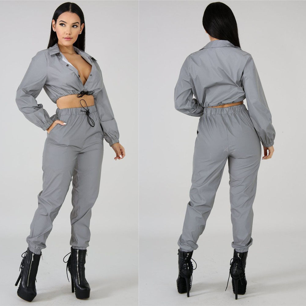 Thefound New Arrival Women Personality Trend Sexy Fashion Reflective Zipper Long Sleeve Crop Top Casual Club Sport   Jumpsuit   2pcs