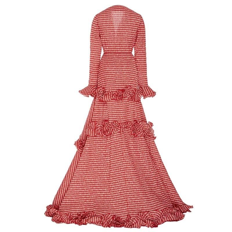 Piso Rojo De Asymmetrica Solapa Expansión Chica Dulce Enrejado Maxi Nueva Primavera Volantes Longitud Mujeres Vestido Rosa Las Otoño Fiesta gqSwY7BH
