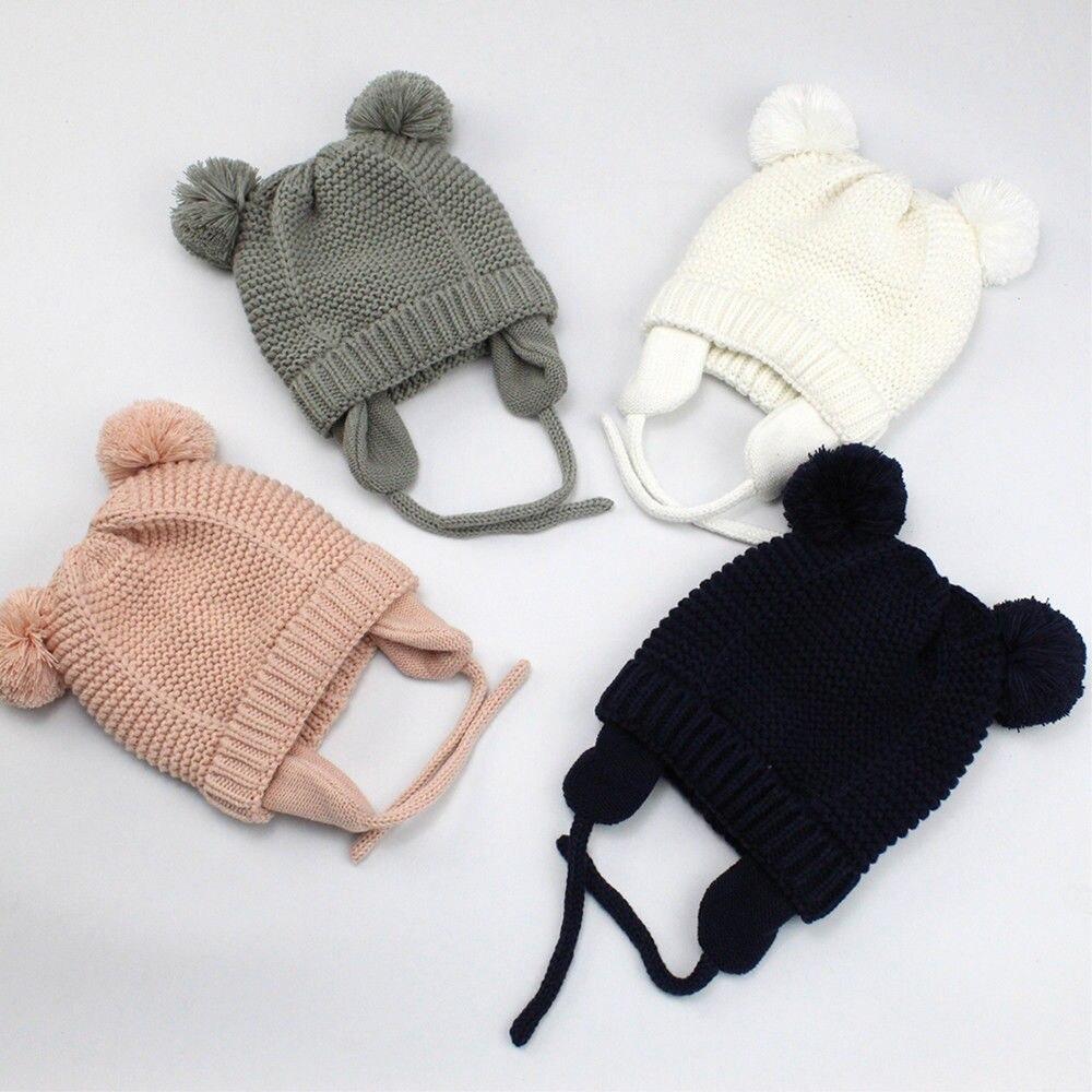 Warm Trendy Winter Baby Beanie Hat Cap Warm Cute Kids Boys Girls Toddler Knitted Hat for 3-24M