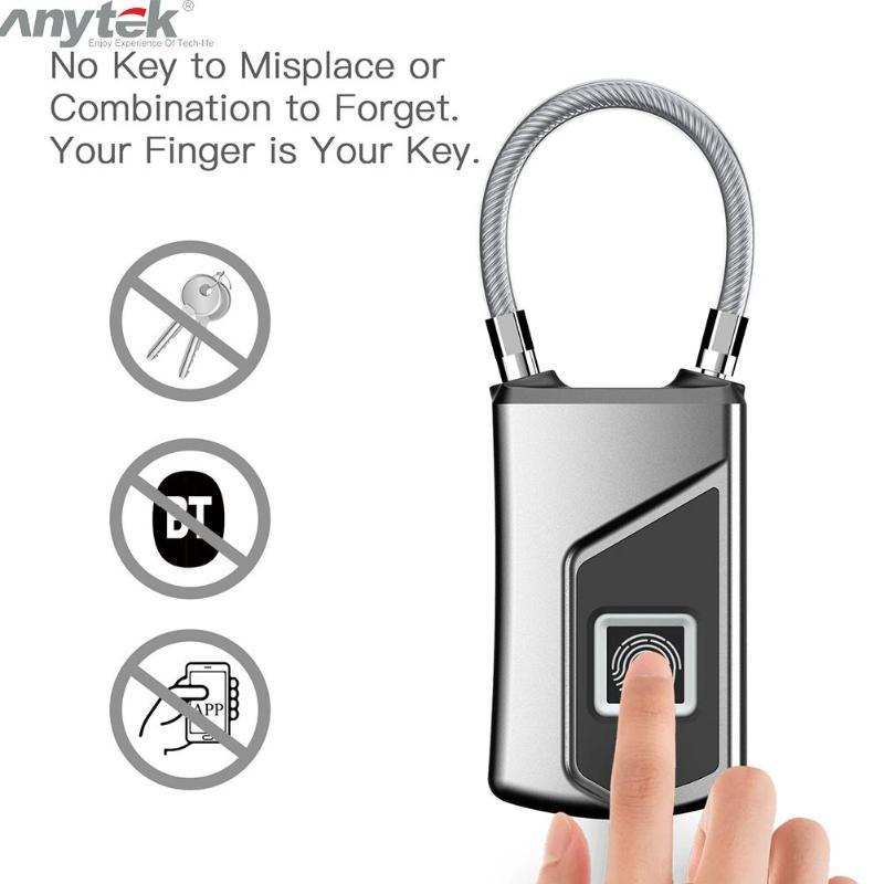 Fingerprint Lock   Waterproof Anti-theft Door or Suitcase Padlock 3