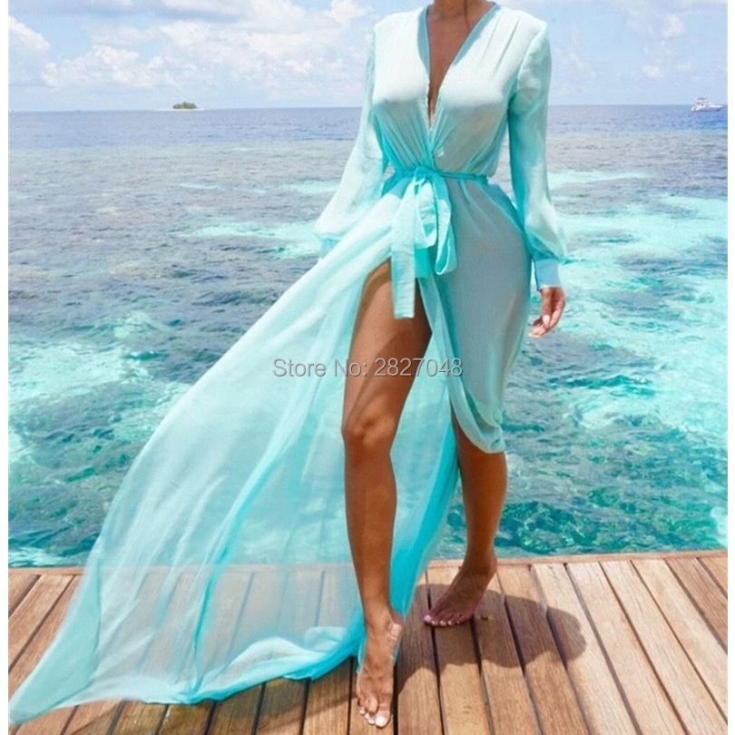 Beach Cover ups Tunic Pareos Swimwear Women 2019 Bikini long sleeve Bandage Cardigan cover up Chiffon Swimsuits Beach Swim Wear