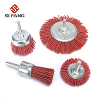 4Pcs Nylon Abrasive Wire Polishing Brush Head Metal Grinding 6mm Shank Rotary Tool