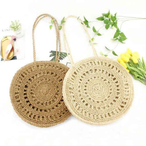 Летняя женская пляжная сумка, круглая плетеная солома, Повседневная сумка на плечо, сумки для хранения