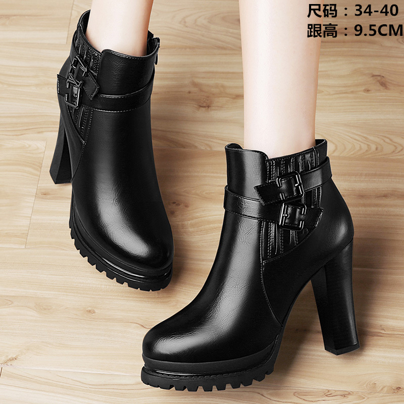 Women high platform heel boots Martens Tide Cowhide Ankle Boots shoes Chunky Heel Platform High-Heel lady  Shoes And