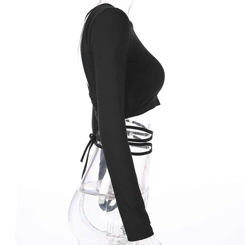 Сексуальные новые модные женские повседневные топы с длинным рукавом с открытой спиной, горячая распродажа, черные однотонные топы, размеры s-xl