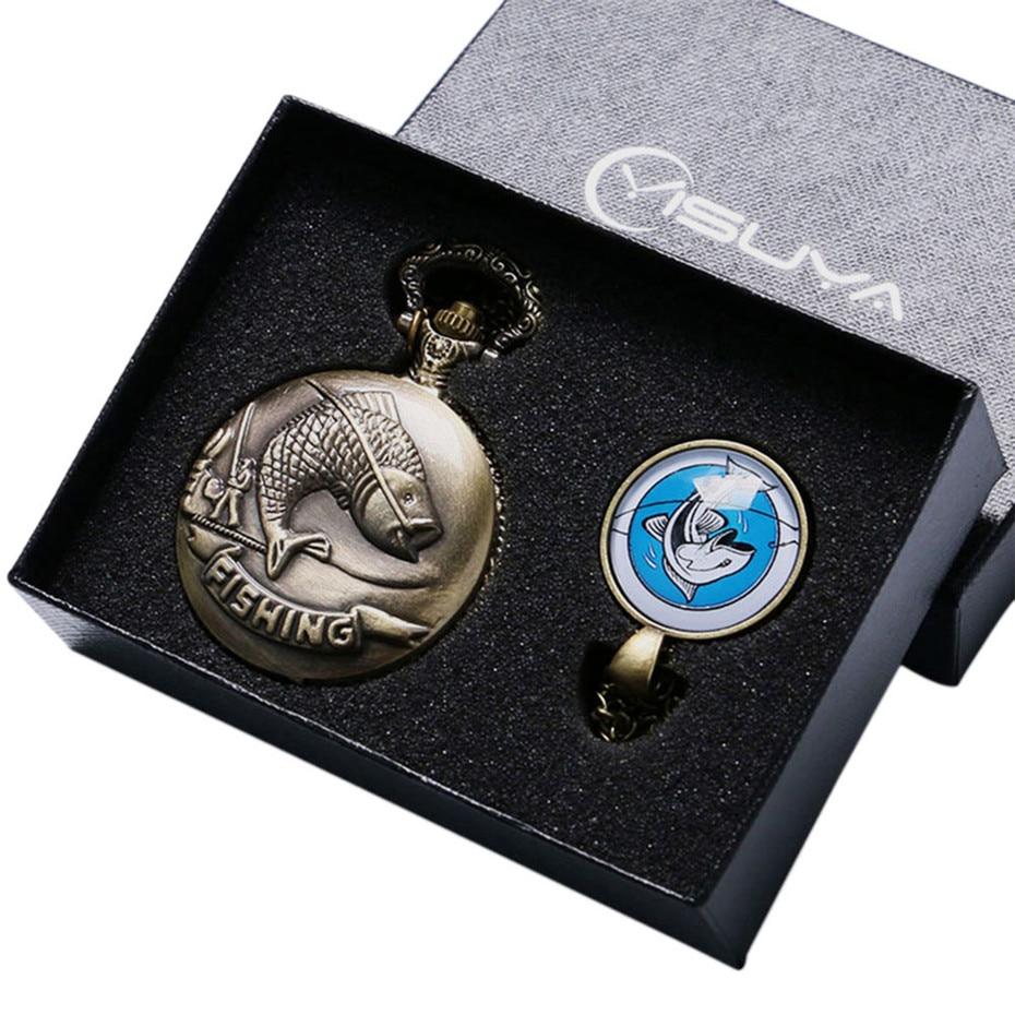 Relógios dos Homens de Quartzo Relógio de Bolso de Bronze Caixa de Presente do Relógio de Natal Presentes de Aniversário Pesca Peixe Retro Analógico Colar Conjunto