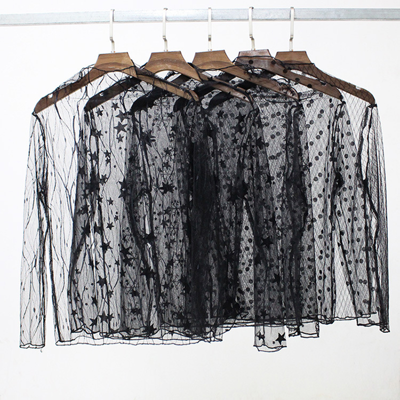Hot Sale 1PC See-through Star Lace   Blouses     Shirt   Soft Sexy Striped Long Sleeve Black Free Size Black Dot Valentines Gift