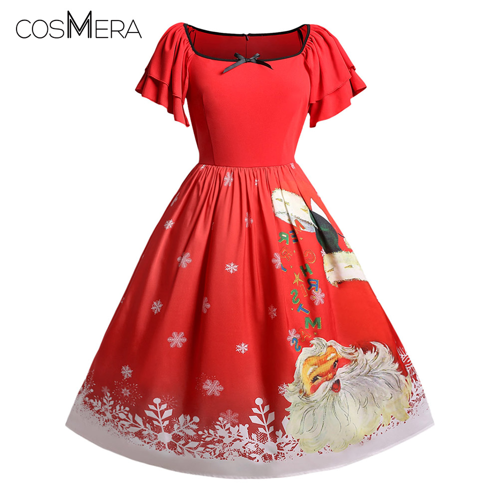 CosMera Christmas Dress Plus Size Santa Claus Print Pin Up Dress Women  Vintage Dress Ladies Short Sleeve A Line Party Dresses