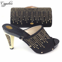Capputine New Arrival Italian Woman Slipper Shoes And Bag Set African Summer Stone Pumps 12CM Shoes And Bag Set For Party