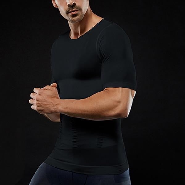 Men's Slimming Shaper Posture Corrector Compression T-Shirts Tummy Control Body Building Fat Burnning Chest Corset 3