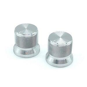 2 шт. Серебристые колпачки для переключателей из алюминиевого сплава, 17x16 мм, ручки потенциометра, кодировщик, сливовый вал