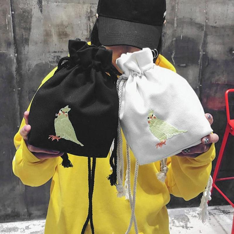 Women Mini Canvas Bucket Handbag Girls Drawstring Messenger Shoulder Bags
