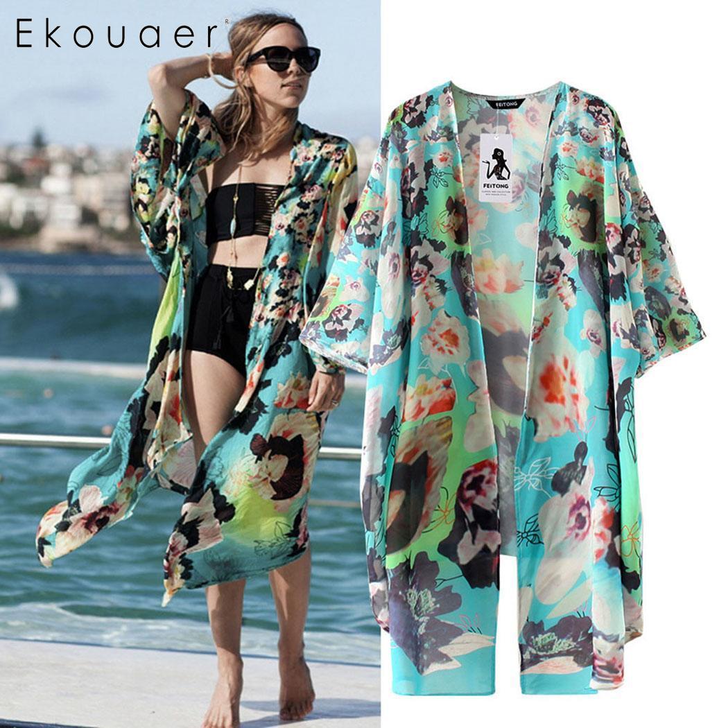 HARRYSTORE Women Floral Kimono Loose Half Sleeve Shawl Chiffon Casual Cardigan Top Summer Cover Up Blouse Beachwear