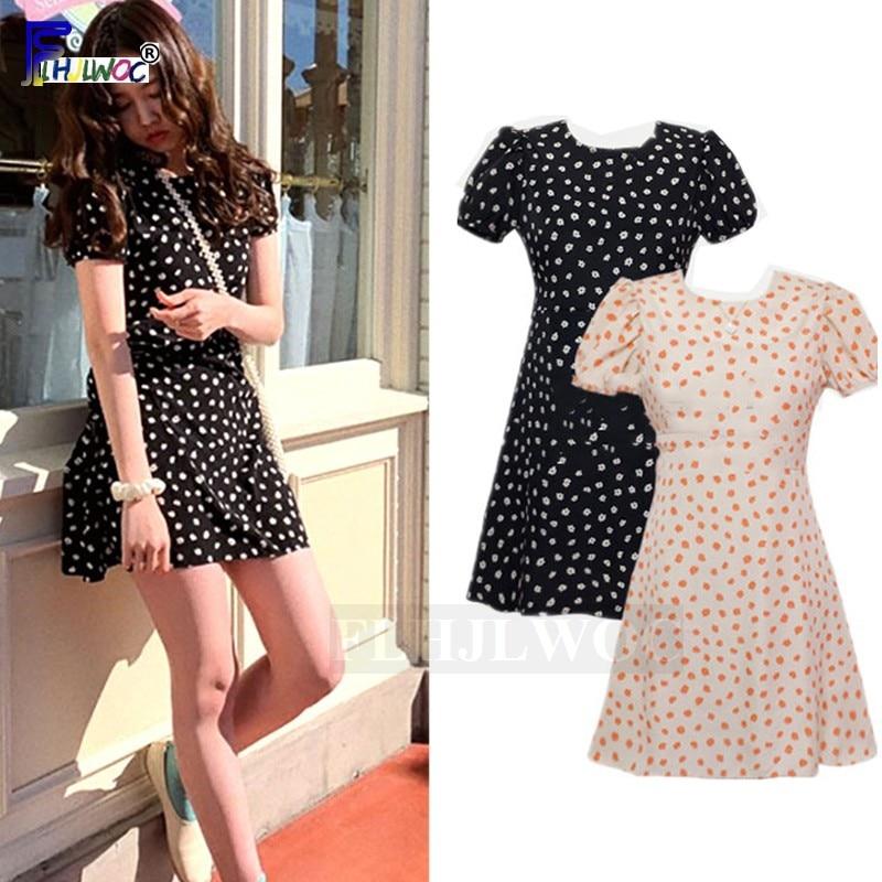 Cute Mini Dresses Women Fashion Japanese Style Design Sweet Girls Date Wear Preppy Style Black Chiffon Polka Dot Tunic Dress
