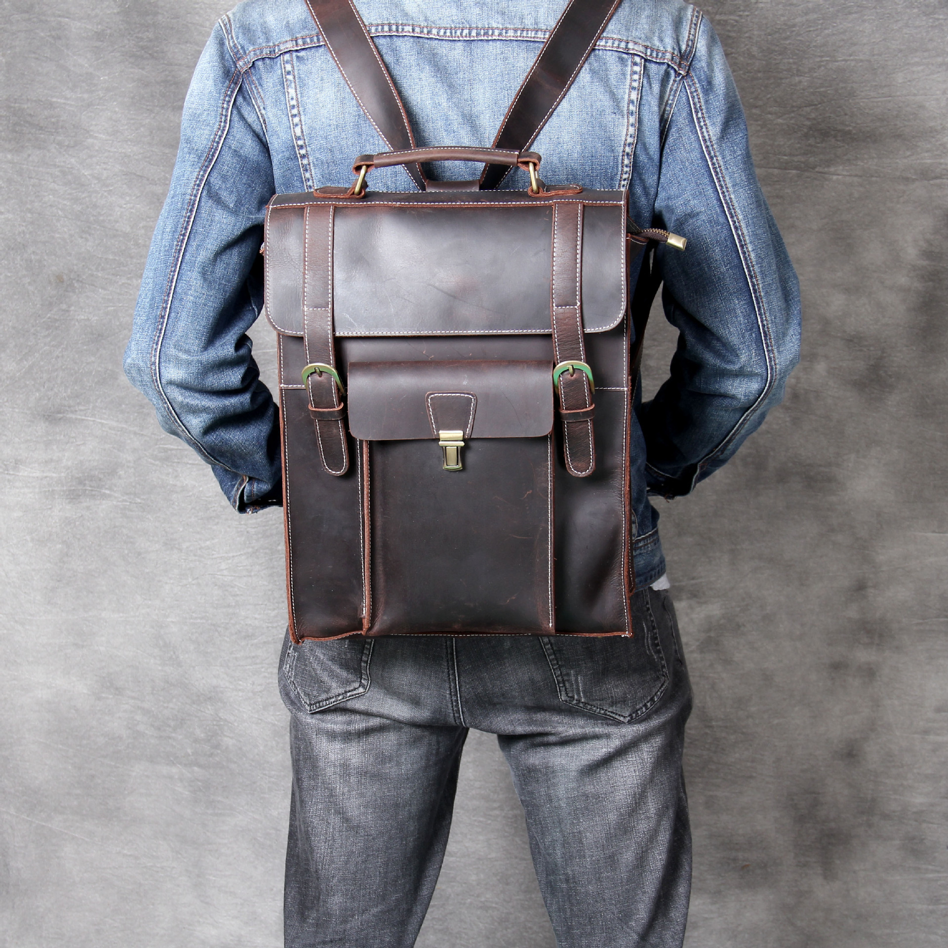 Genuine Leather Backpack Mens Bag Crazy Horse Leather Retro Coffee Daypack Cowhide Rucksack New Bag 2019 Top Quality VintageGenuine Leather Backpack Mens Bag Crazy Horse Leather Retro Coffee Daypack Cowhide Rucksack New Bag 2019 Top Quality Vintage