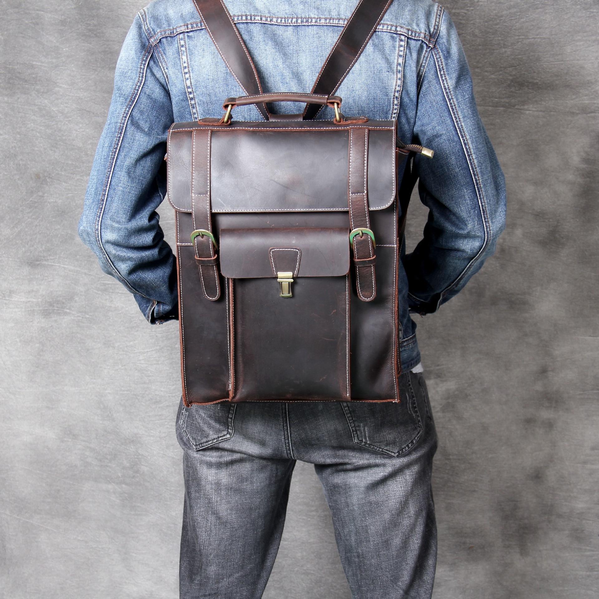 Sac à dos en cuir véritable sac pour hommes Crazy Horse cuir rétro sac à dos en cuir de vachette nouveau sac 2019 Top qualité Vintage