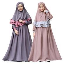 2019 dzieci Abaya dla dzieci suknie islamskie muzułmańska sukienka dziewczyny Kaftan marokański hidżab szata dubaj bangladeszu Vestido zjednoczone emiraty arabskie Abayas zestawy