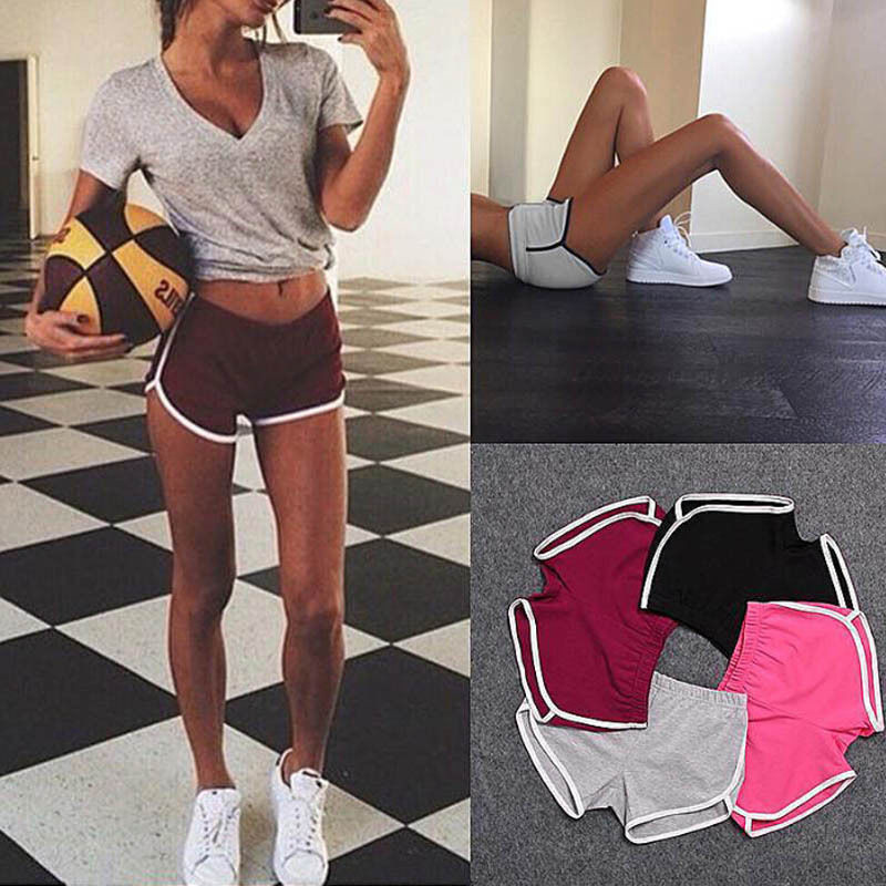Lady Girl Summer Waistband Elastic Waist Casual Solid  Sports Shorts Gym Workout Casual Daily Wear Fitting   Short Canis