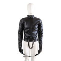 Adult Products PU Leather Bondage Jacket With Long Sleeves Fetish Restraint Straitjacket Sex Toys For Couple Roleplay Toys