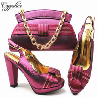 New Fashion Elegant Summer Women Party Shoes And Bag Set For Party Afrian Style High Heel Shoes And Bag Set Size 38 43 G66