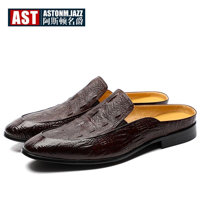 US6-11 Full Grain Leather Casual SLIP-ON New Men Penny Loafer Crocodile Pattern Mules Open Back Slippers Designer Shoes