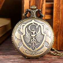 Antique Quartz Analog Pocket Watch for Men Bronze Polish Eagle Pattern Watches for Women Pendant Necklace Chain for Friends Gift(China)