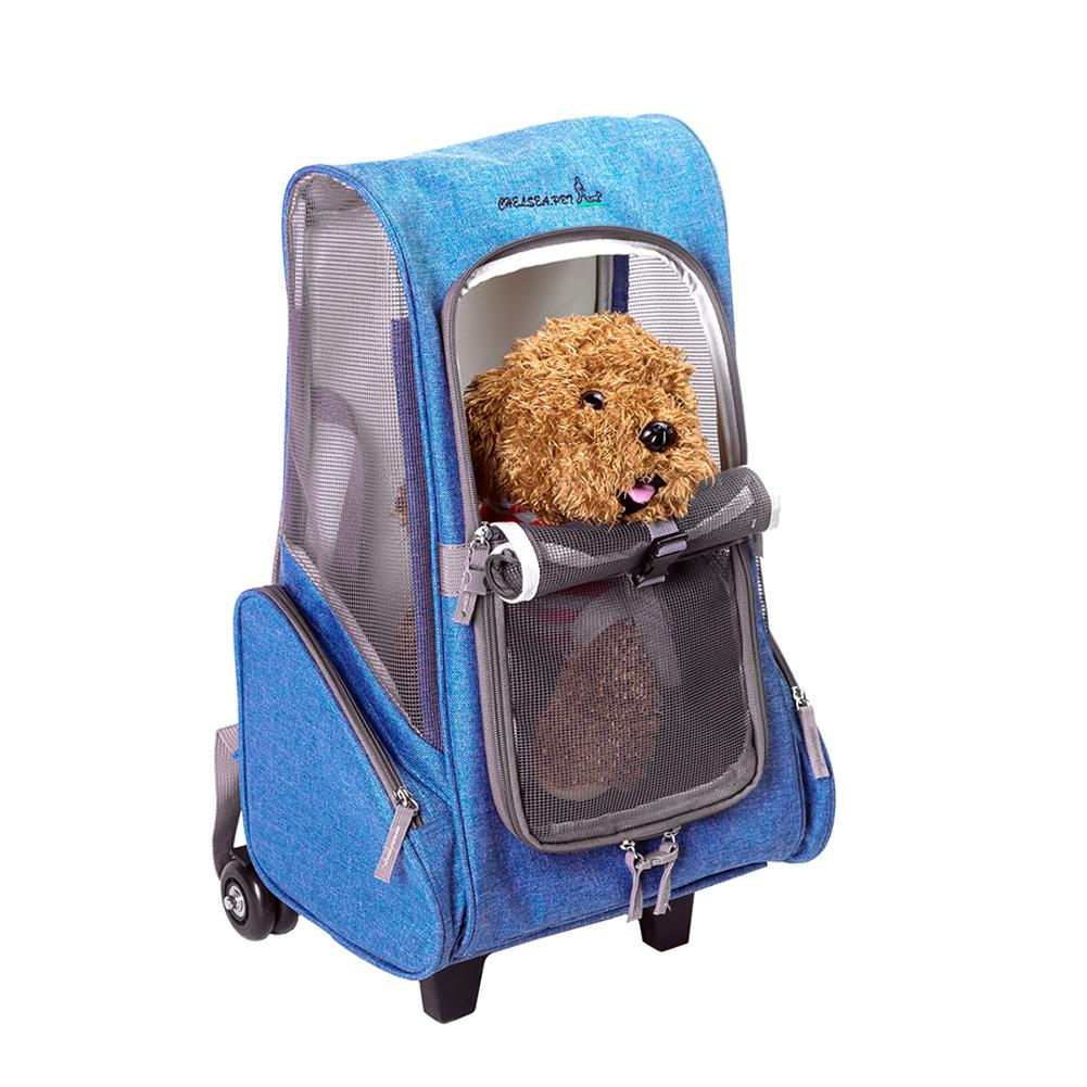 Dog Outdoor Detachable Pulley Trolley Case Pet Travel Multiple Pocket Carts Pet Out Portable Backpack Dog Breathable Bag Cage