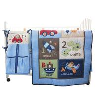 Blue Cars Airplan Boy Baby Crib Cot Bedding SetIncluding Cotton Printed Cot Sheet Duvet Pillow 4 items New