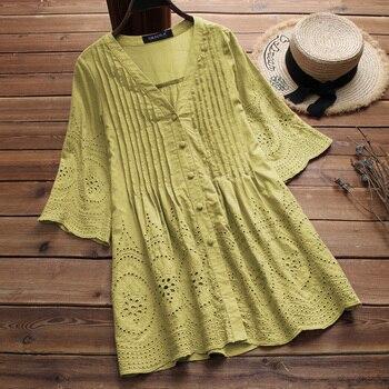 42cab32094cd Плюс размер женская льняная блузка 2019 Элегантная вышивка полые блузы  женские v-образный вырез рубашки на пуговицах плиссированная Туника л.