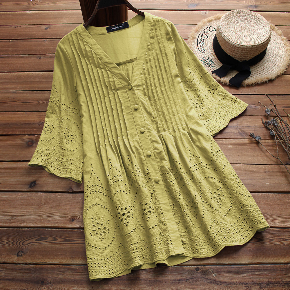 Plus Size Women's Linen Blouse 2019 Elegant Embroidery Hollow Blusas Female V Neck Button Shirts Pleated Tunic Summer Tops